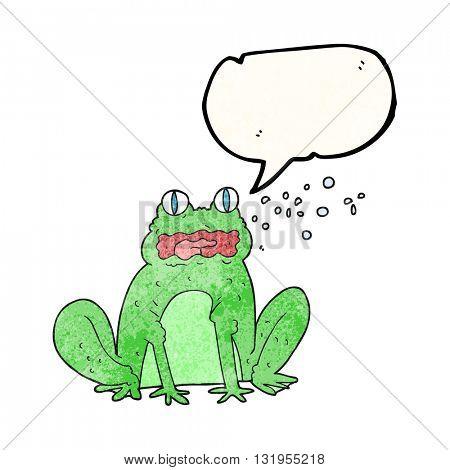 freehand speech bubble textured cartoon burping frog