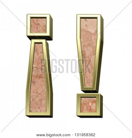 Exclamation mark from stone conglomerate with gold frame alphabet set isolated over white. 3D illustration.
