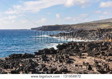 Coast Near Ahu Tahai, Easter Island, Chile