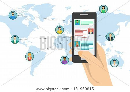 Vector concept social network communication around the globe chating. Hand texting on smartphone screen and various men and woman on world map with connecting lines. Flat style. Web infographics