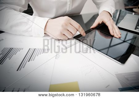 Marketing Department Work Process.Photo Trader working Online Report Documents Touching Tablet, Reflections Screen.Using Graphics, Stock Exchanges Files. Business Project Startup. Horizontal