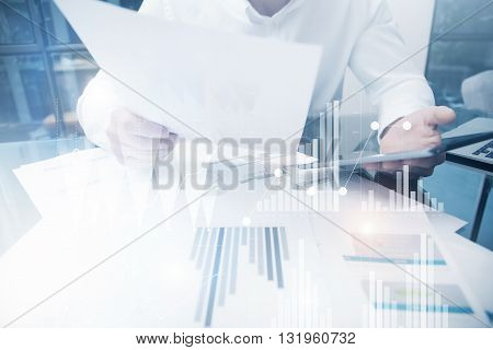 Risk Department Work Online Process.Photo Trader working Market Report Documents Touching Screen Tablet.Using Graphics, Stock Exchanges Reports, Digital Interfaces.Business Project Startup.Horizontal