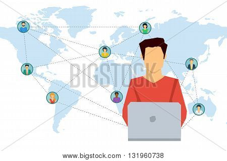 Vector concept social network communication around the globe. Man working on laptop and various men and woman on world map with connecting lines. Flat style. Web infographics