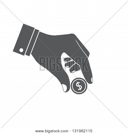 Coin In Hand Vector