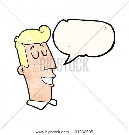 freehand speech bubble textured cartoon grinning man