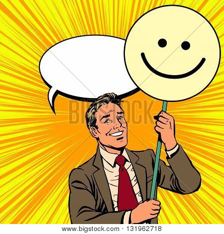 Protester with a poster Emoji smiley pop art retro vector. Smile joy positive. Political support