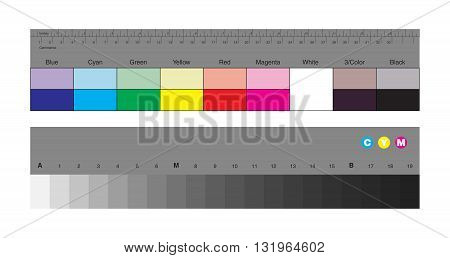 Vector illustration of colors control patches and gray scale for photographers and videographers