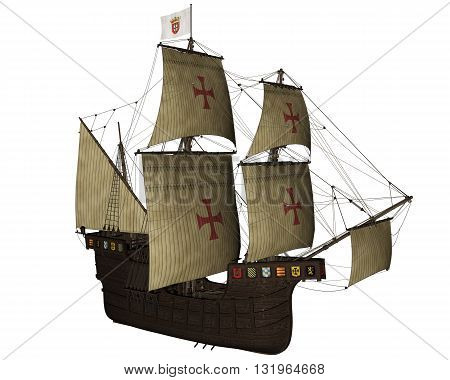 San Buenaventura ship isolated in white background - 3D render
