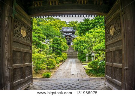 View of a Japanese temple beyond the wooden doors