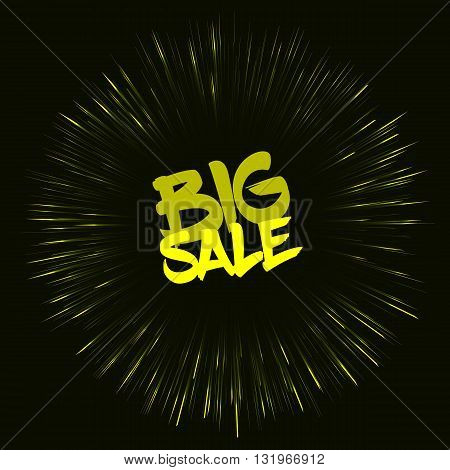 Vector big sale template in retro style on dark background. Big sale template with fireworks effect. Template with yellow color. Big sale card template for various use especially for discount events.