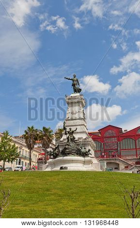 PORTO PORTUGAL - MAY 27 2016: Monument (circa 1900) to Infante Henrique (Prince Henry the Navigator) in the historic center of Porto Portugal. World Heritage Site of UNESCO
