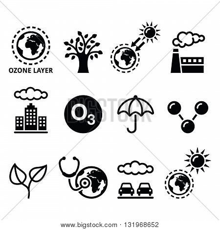 World ozone day, ecology, climate change icons set