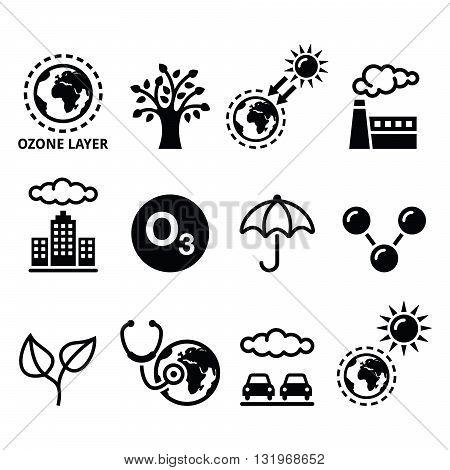 World ozone day, ecology, climate change icons set poster