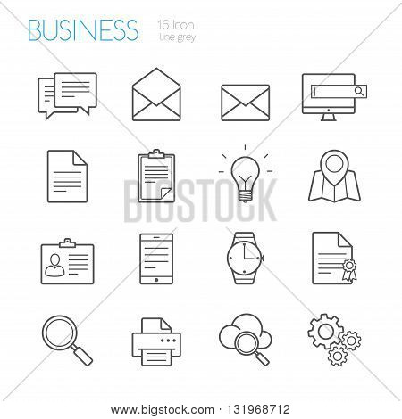 bussines line icons gray  set of 16
