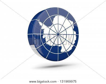 Round Icon With Flag Of Antarctica