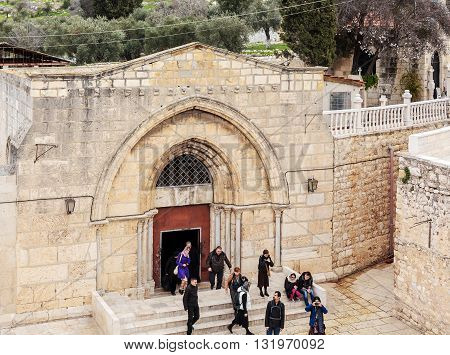 Jerusalem, Israel - February 16, 2013: Tourists Entering Tomb Of The Virgin Mary