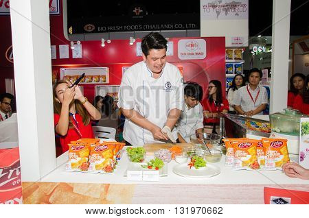 NONTHABURI - MAY 25 : Chefs are cooking demonstrations to visitors in during exhibition of THAIFEX - World of food ASIA 2016 on May 25 2016 in Nonthaburi Thailand.
