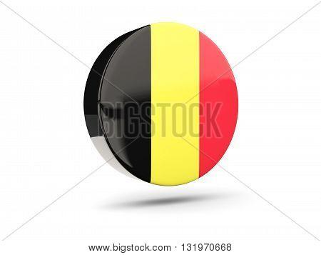 Round Icon With Flag Of Belgium
