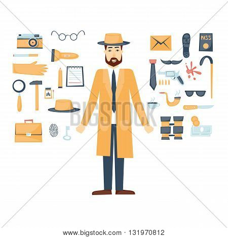 Detective character and icon set elements. Flat design vector.