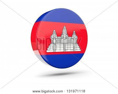 Round Icon With Flag Of Cambodia