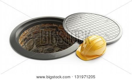 3d rendering Manhole in-service. construction helmet isolated on white background. 3D illustration