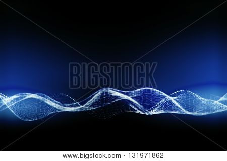 Illuminated digital wave on dark blue background