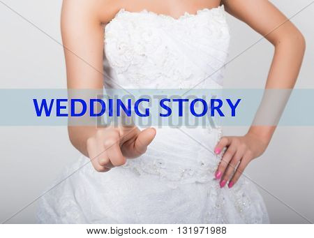 technology, internet and networking concept. Beautiful bride in fashion wedding dress. Bride presses wedding story button on virtual screens