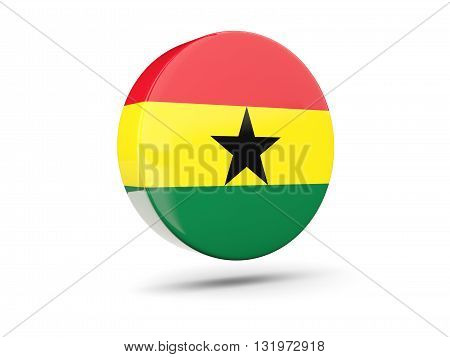 Round Icon With Flag Of Ghana