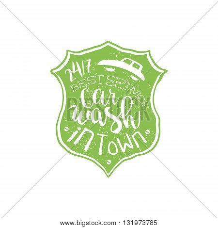 Carwash Green Vintage Stamp Classic Cool Vector Design With Text Elements On White Background