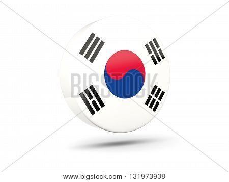 Round Icon With Flag Of Korea South