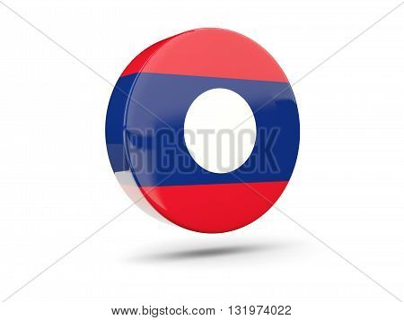 Round Icon With Flag Of Laos