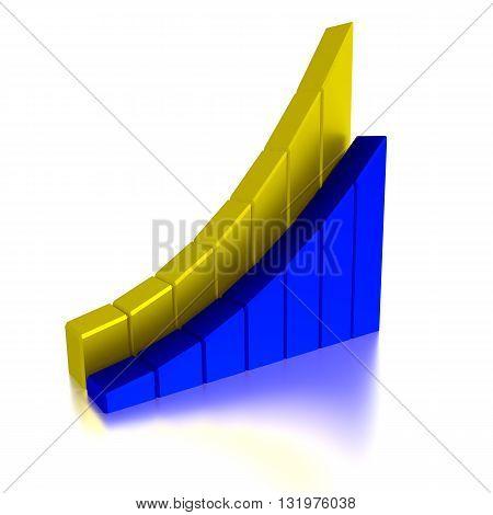 Stock Bar Chart, Business concept, 3d illustration