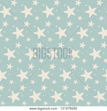 Cute vintage seamless pattern with big and small stars