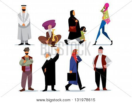 Middle eastern people isolated on white background. Arab, saudi, muslim. Islamic style. Vector illustration.