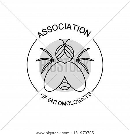 Vector association of entomologists logo isolated on white background. Flat simple insignia, symbol, label, icon. Artistic design logo for association of entomologists, illustration, article, journal.