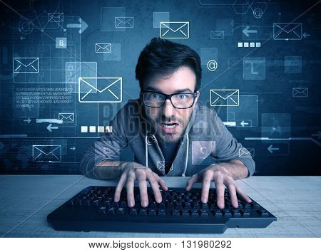 A talented young hacker hacking email address passwords concept with keyboard on desk and illustrated letters in the background poster