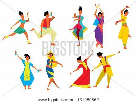 Indian dancers vector illustration. Cartoon style. Traditional Indian dances. Asian culture. Different poses of Indian dances. National Indian costume. Indian people isolated on white background. Cartoon Indian dancer.
