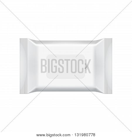 Blank packaging wet wipes on white background. Foil cosmetic bag. Package template. Wet wipes bag. Realistic 3d mockup. Plastic pack template. Wet wipes template. Ready for design. Vector illustration. Wet wipes isolated.