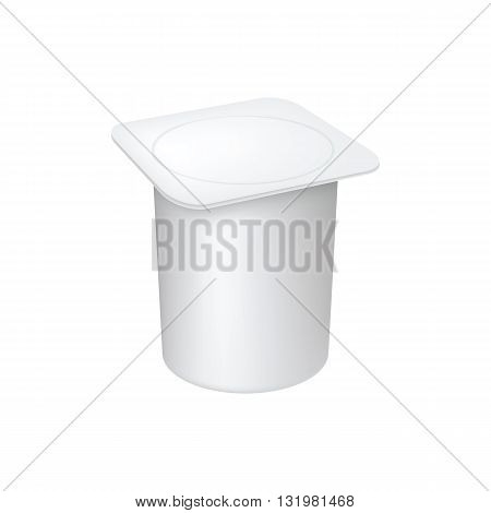 Plastic container for liquid milk products. 3d realistic yogurt packaging. Vector yogurt packaging. Plastic packaging. Packaging template. Layout for yogurt packaging design. Yogurt container isolated on white background. Blank box ice cream or dessert.