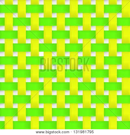 Interlacing paper fabric yellow and green tapes with drop shadows and bending elements. Seamless vector texture. Seamless pattern.Vector geometric background.