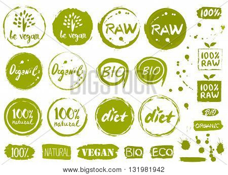 Vegan icon set. Raw food icon. 100% icon. Organic food icon. Diet icon. Bio icon. Raw food sign. Watercolor bio food icon. Eco style icon design. Vector vegan icon collection. Be vegan icon.  Eco vector sign. Watercolor effect icon collection.