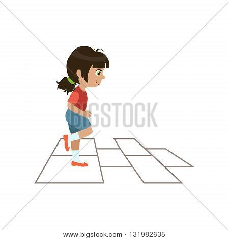 Girl Playing Hopscotch Colorful Simple Design Vector Drawing Isolated On White Background