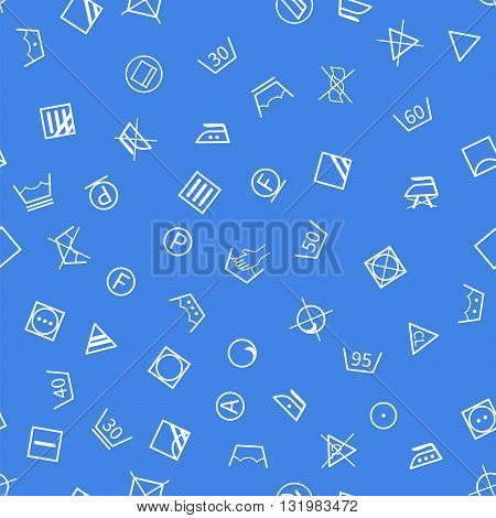 White laundry symbols on blue background seamless pattern