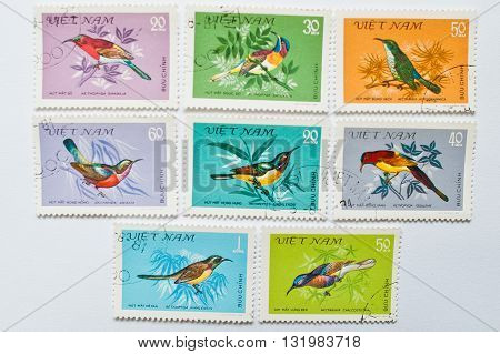 Uzhgorod, Ukraine - Circa May, 2016: Collection Of Postage Stamps Printed In Vietnam Shows Different