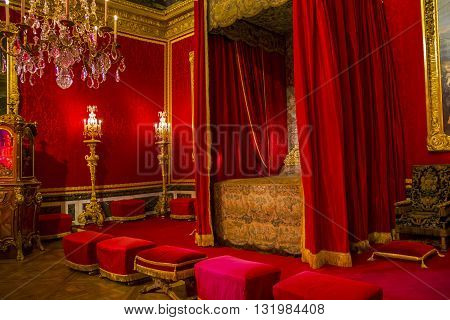 VERSAILLES, FRANCE - MAY 12, 2013: Interiors of the Palace of Versailles. This is the royal bedroom.
