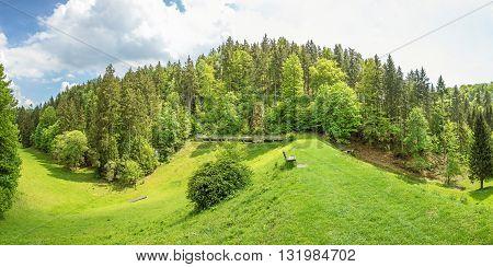 Wental valley reservoir dam panorama - forest / trees in the background - Swabian Alps (Schwaebische Alb)