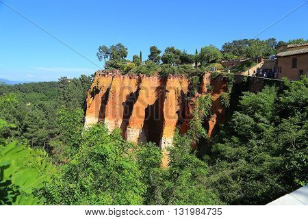 ROUSSILLION, FRANCE - MAY 17, 2015: There are former ocher quarries near village Roussillion in Provence.