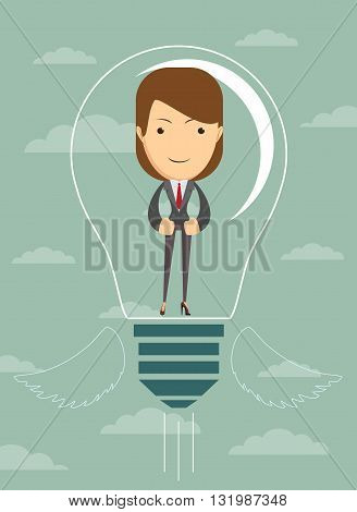 Businesswoman create idea. vector illustration Business woman covered with creative idea, in the form of light bulbs, vector illustration