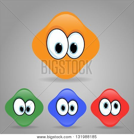 Vector illustration. Set of shaped emoticons. Rounded smilies.