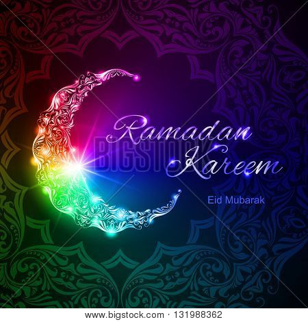 Colorful glowing ornate crescent with bright flare and asian floral ornament in background. Greeting card of holy Muslim month Ramadan